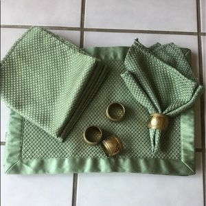 Other - Set of 4 place mats, 4 napkins, 4 brass tone rings